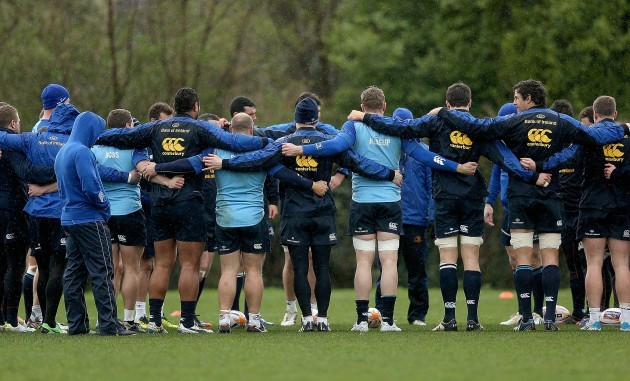 Leinster team huddle with Brian O'Driscoll in the centre 24/3/2014