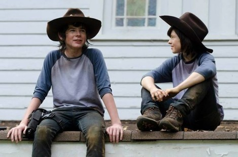 Chandler Riggs and his stunt double :D Yes it is