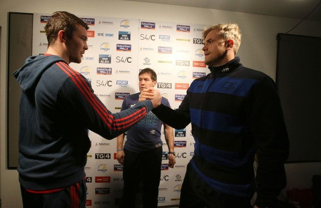 Peter O'Mahony with Alain Rolland and Jamie Heaslip