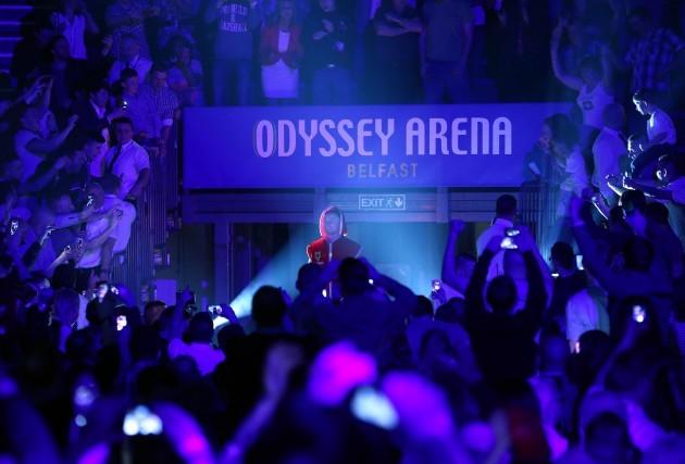 Carl Frampton enters the Odyssey Arena 4/4/2014