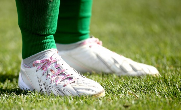 Aine O'Gorman wearing pink laces in support of breast cancer awareness