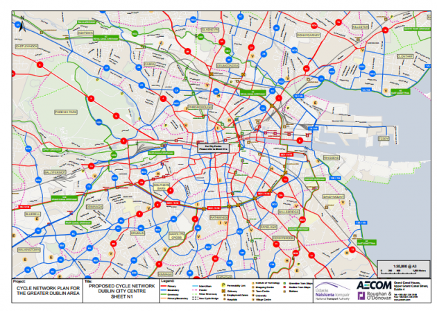 Maps Dublin.These Maps Show The Planned 2 840km Of Cycle Routes For The Greater