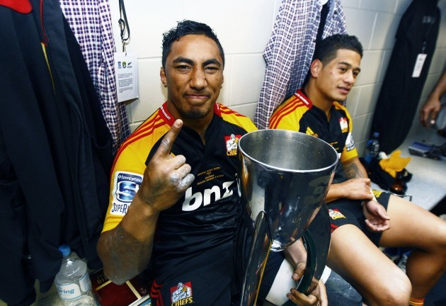 Bundee Aki celebrates