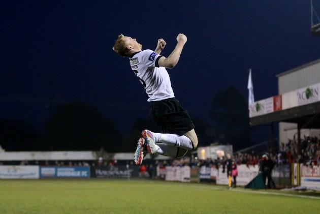 Chris Shields celebrates scoring the opening goal