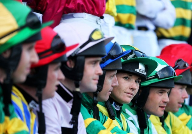 Katie Walsh and fellow jockeys pose for a group photograph