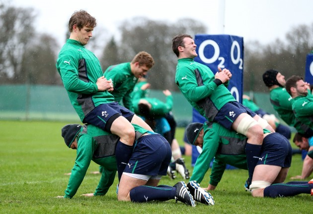 Andrew Trimble and Rory Best alongside Dan Touhy and Peter O'Mahony