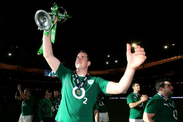 Devin Toner celebrates with the RBS 6 Nations trophy