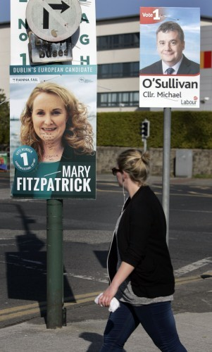 Election Posters. Pictured is a defaced