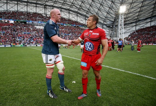 Paul O'Connell with Jonny Wilkinson after the game