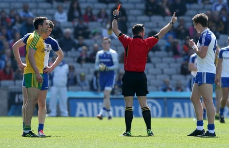 Donegal's Rory Gallaghaer is sent off by referee David Gough