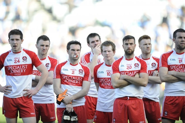 Derry players dejected after the game