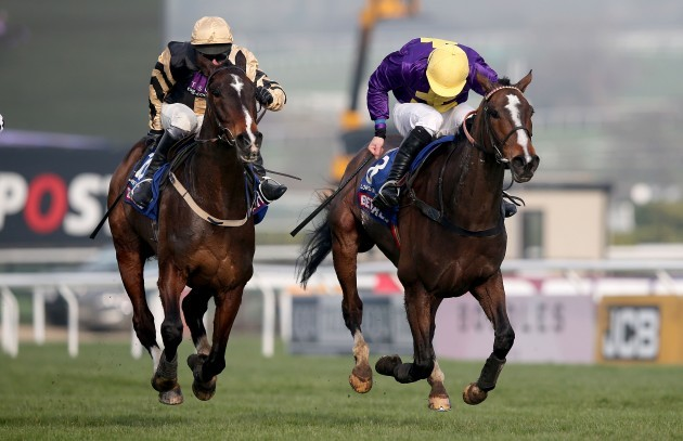 Lord Windermere ridden by Davy Russell beats On his Own ridden by David Casye to win
