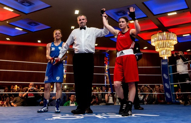 Katie Taylor is declared the winner