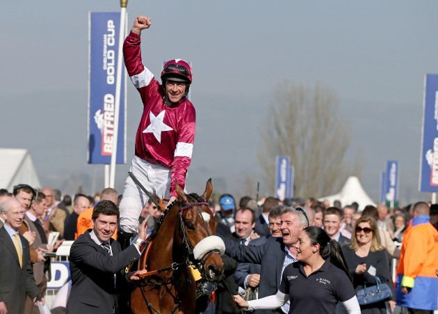 Davy Russell celebrates winning on Tiger Roll 14/3/2014