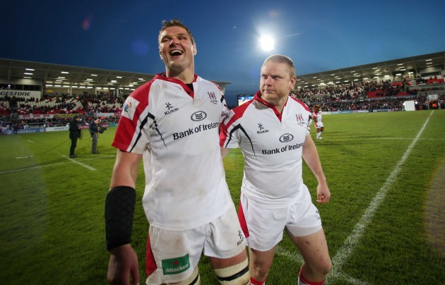 Johann Muller and Tom Court say farewell to the fans at Ravenhill