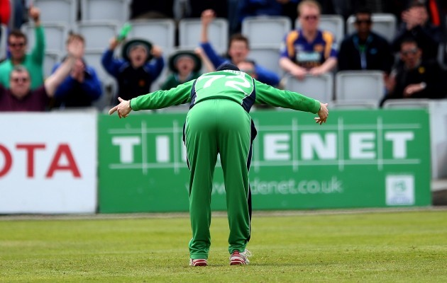 Niall O'Brien celebrates after he hit the stumps to run out Angelo Mathews 6/5/2014