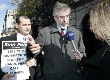 Sinn Fein Protests over Bank Bailouts
