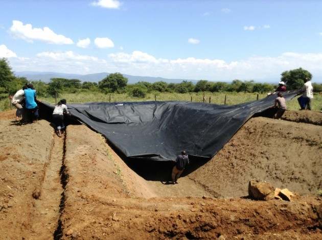 Lining a pond for rain water harvesting