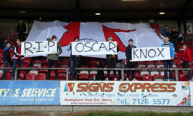 Derry fans pay tribute to Oscar Knox