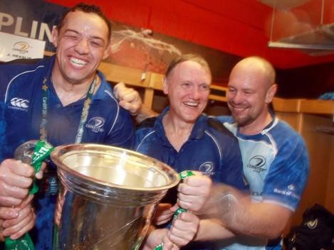 Jono Gibbes, Joe Schmidt and Greg Feek celebrate with the Heineken cup