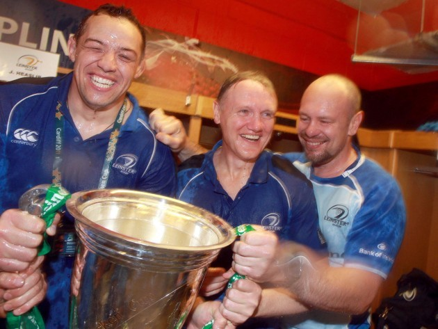 Jono Gibbes, Joe Schmidt and Greg Feek celebrate with the Heineken cup