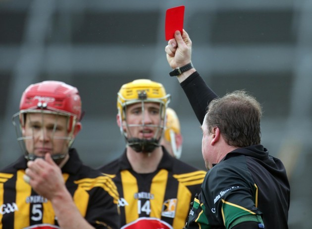 Tommy Walsh of Kilkenny is sent off by referee Michael Wadding