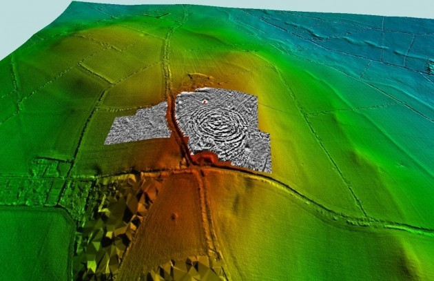 Pic 3 Geophysical Survey of Tlachtga overlaid onto the LiDAR Image (Dr Stephen Davis and Chris Carey, funded by the Heritage Council)