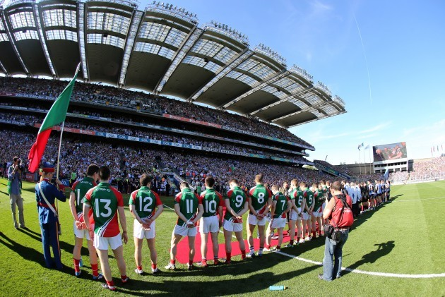 Mayo and Dublin players line up