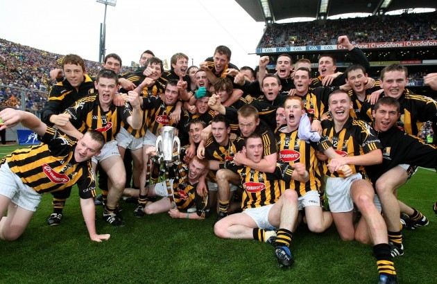 Kilkenny players celebrate with the trophy