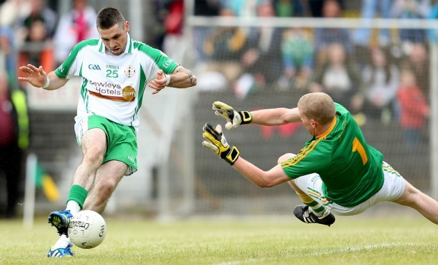 Cathal McCrann saves a goal bound effort from Eoin O'Neill