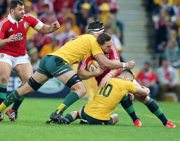 George North tackled by James O'Connor and Kane Douglas 22/6/2013
