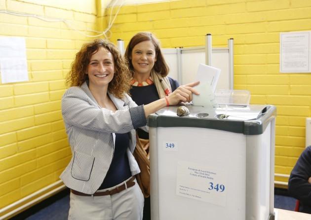 Lynn Boylan Voting accompanied by Mary