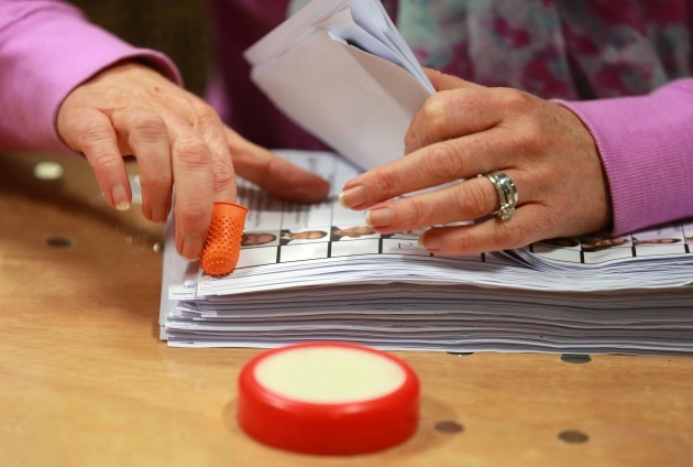 Local election count. Votes are sorted