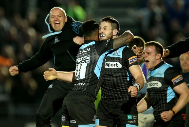 Glasgow Warriors Tommy Seymour, Niko Matawalu and Gregor Townsend celebrate at the final whistle