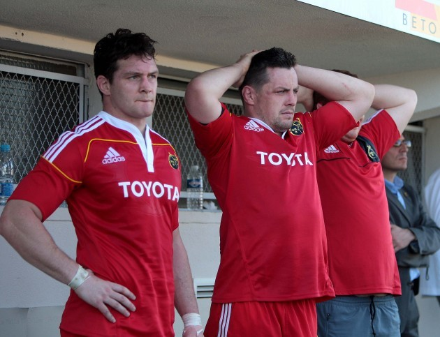 David Wallace and James Coughlan look on anxiously during the closing minutes