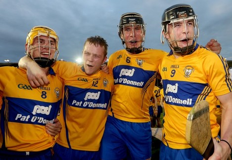 Colm Galvin, Aaron Cunninghamm Alan O'Neill and Tony Kelly celebrate