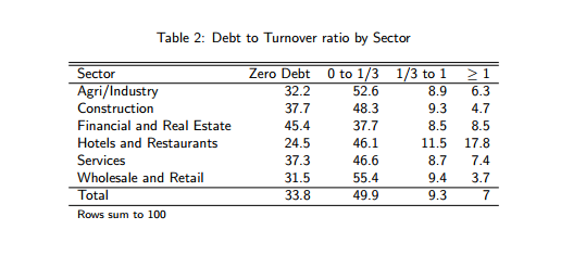 Debt to turnover by size