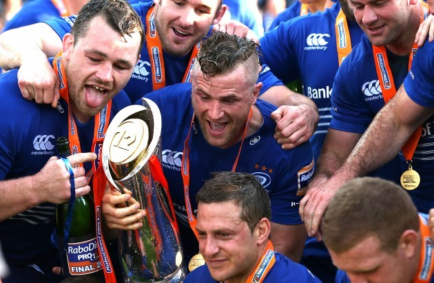 LeinsterÕs Cian Healy and Jamie Heaslip with the trophy