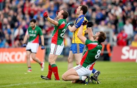 Andy Moran and Aidan O'Shea celebrate at the final whistle