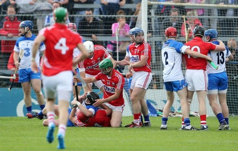 Tempers flare between the Cork and Waterford players