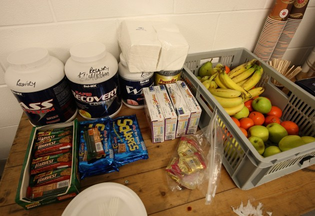 General view of food in the Ireland changing room before the game