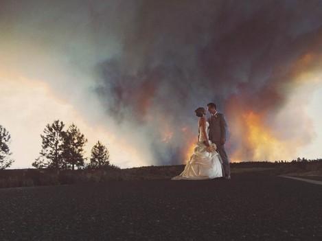 Wildfire Wedding Photo