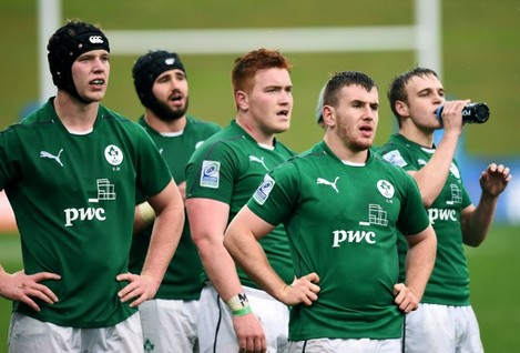 Ireland players wait for a referee decision 10/6/2014