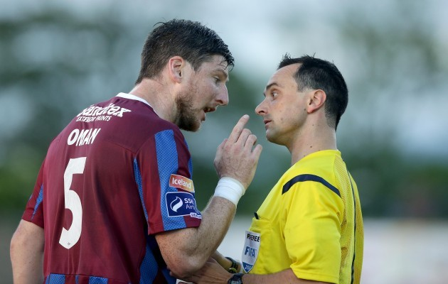 St. Patrick's Athletic's Ken Oman argues with referee Neil Doyle after being shown a red card