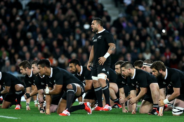The All Blacks perform the Haka before the game