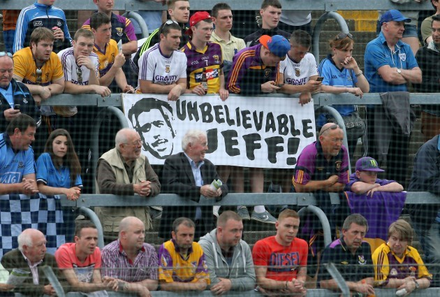 General view of a banner in the crowd