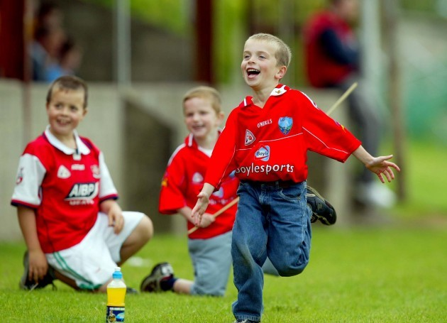 General view of young Louth fans celebrating