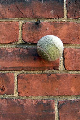 Still Life with Tennis Ball on a Red Brick Wall