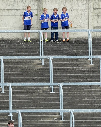 Four young Laois supporters look on