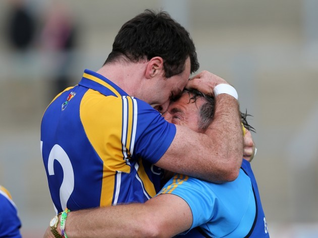 Jack Sheedy celebrates with Paul Barden after the game